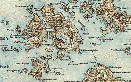 Old map of Tresco in 0