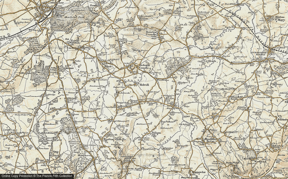 Old Map of Historic Map covering Woodbridge in 1899