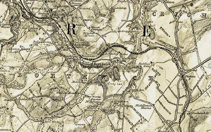 Old map of Borthwick Castle in 1903-1904