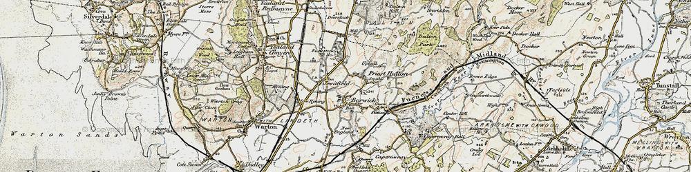 Old map of Borwick in 1903-1904