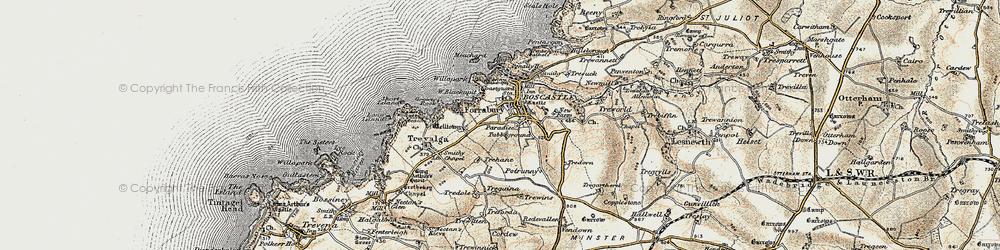 Old map of Boscastle in 1900