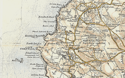 Old map of Wheal Edward Zawn in 1900