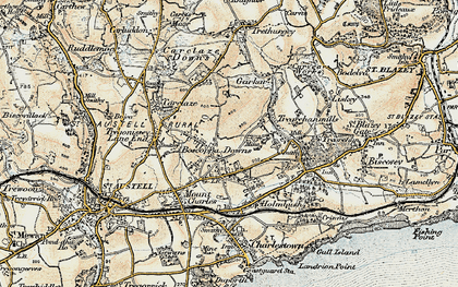Old map of Boscoppa in 1900