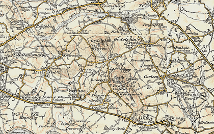 Old map of Boscreege in 1900