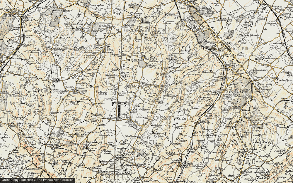 Old Map of Historic Map covering Atchester Wood in 1898-1899