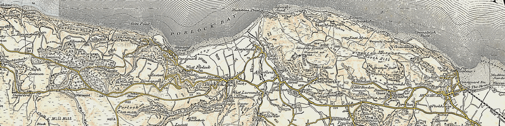 Old map of Bossington in 1900