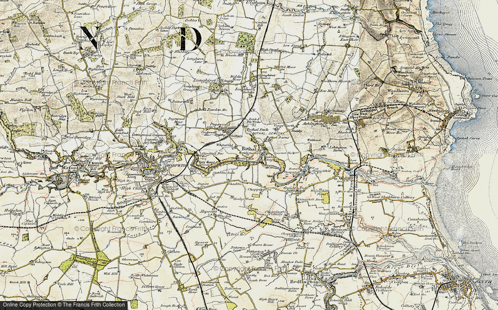 Old Map of Historic Map covering Whitefield in 1901-1903