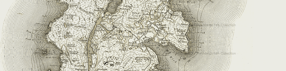 Old map of White Stane of Housifield in 1912