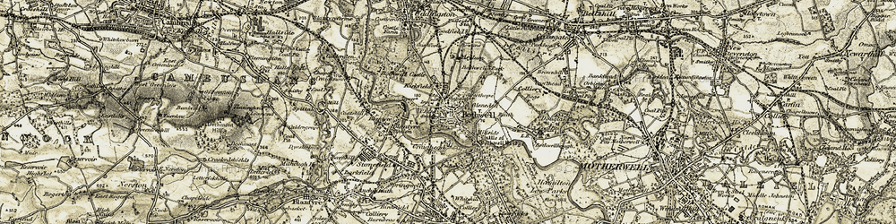 Old map of Bothwell in 1904-1905