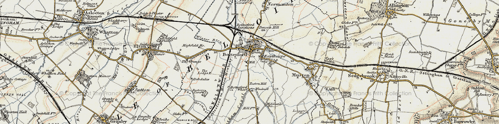 Old map of Bottesford in 1902-1903