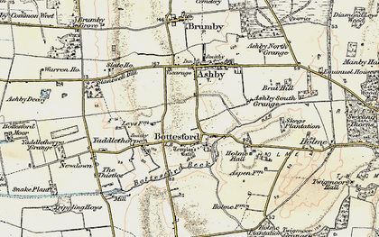 Old map of Bottesford in 1903