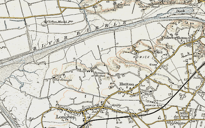 Old map of Bottom of Hutton in 1903
