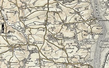Old map of Botusfleming in 1899-1900