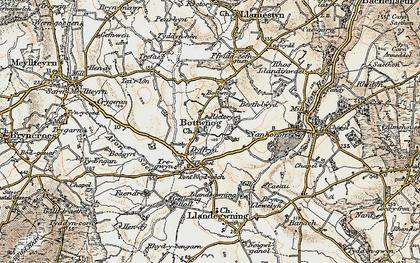 Old map of Botwnnog in 1903