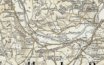 Old map of Boughrood Brest in 1900-1902
