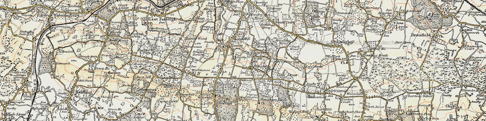 Old map of Boughton Monchelsea in 1897-1898