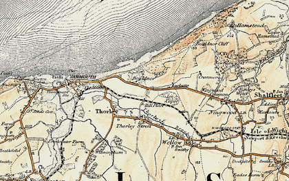 Old map of Bouldnor in 1899-1909