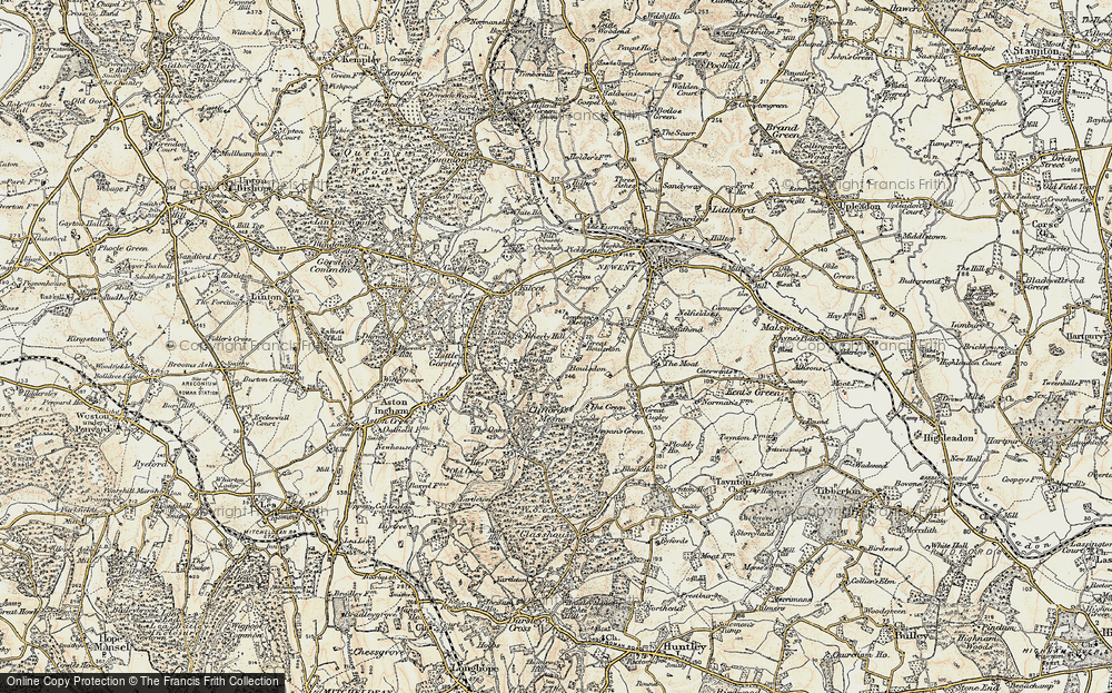 Old Map of Historic Map covering Acorn Wood in 1899-1900