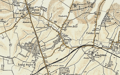 Old map of Bourn in 1899-1901
