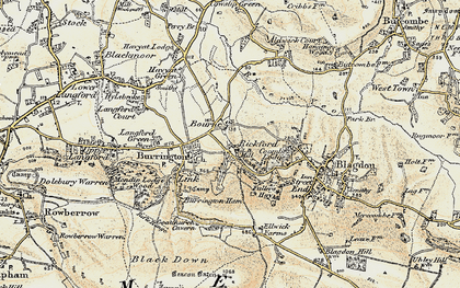 Old map of Bourne in 1899-1900