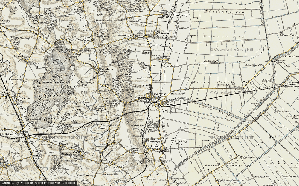 Old Map of Bourne, 1901-1903 in 1901-1903