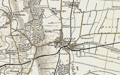 Old map of Bourne in 1901-1903