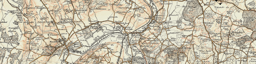 Old map of Bourne End in 1897-1898