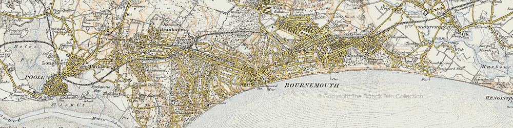 Old map of Bournemouth in 1899-1909