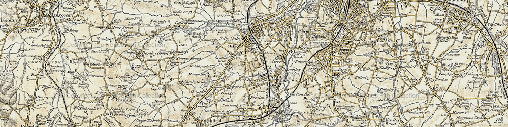 Old map of Bournville in 1901-1902