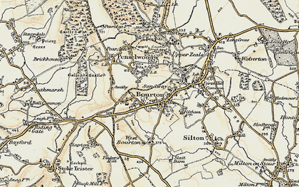 Old map of Bourton in 1897-1899