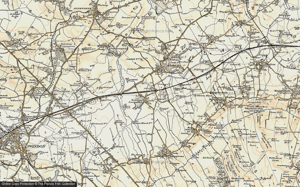 Old Map of Bourton, 1898-1899 in 1898-1899