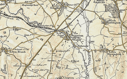 Old map of Bourton-on-the-Water in 1898-1899