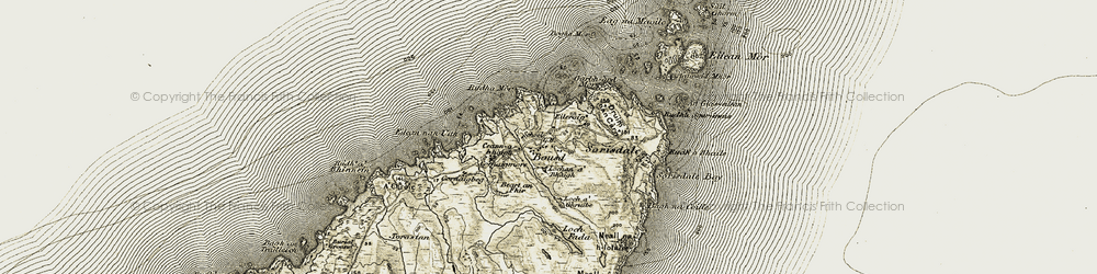 Old map of A Chròic in 1906-1911