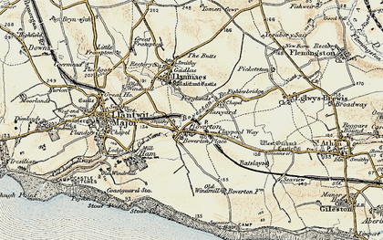 Old map of Boverton in 1899-1900