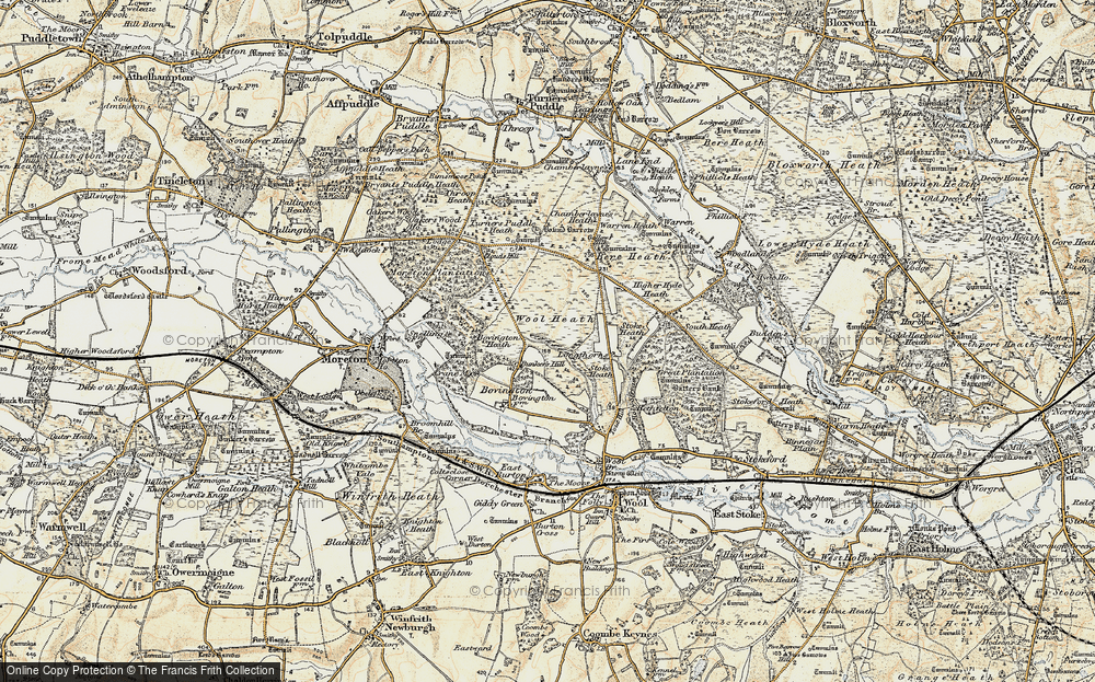 Old Map of Historic Map covering Woolbridge Heath in 1899-1909