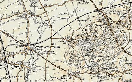 Old map of Bow Brickhill in 1898-1901