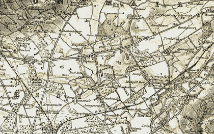 Old map of Barham in 1906-1908