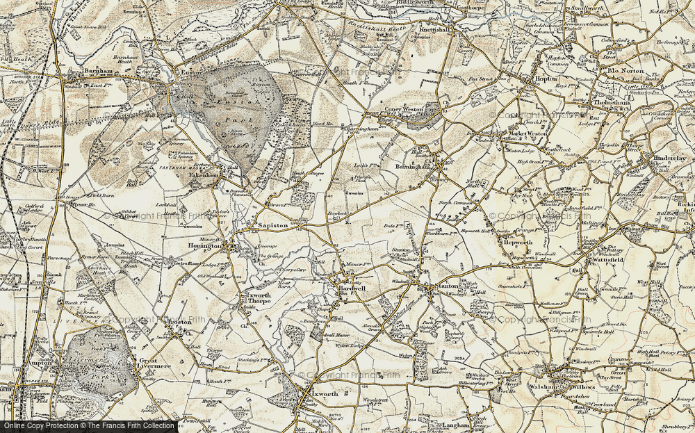 Old Map of Historic Map covering Lanket's Grove in 1901