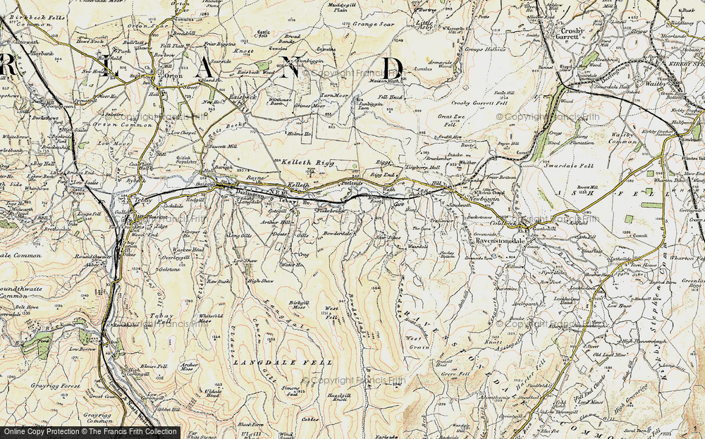 Old Map of Historic Map covering Langdale Knott in 1903-1904
