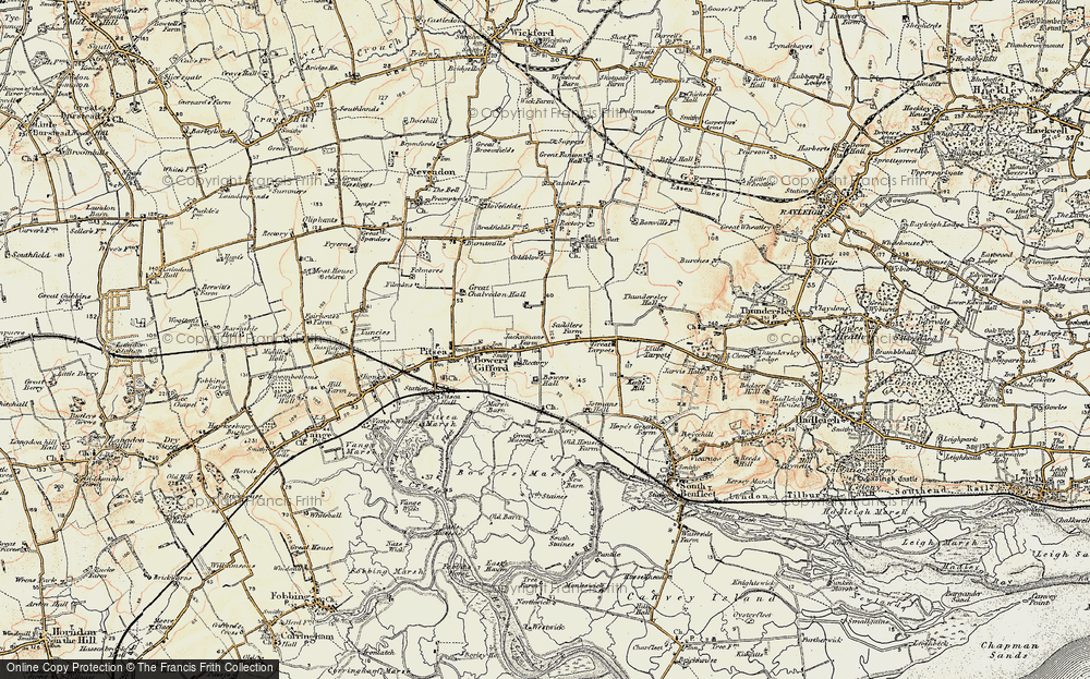 Old Map of Bowers Gifford, 1898 in 1898