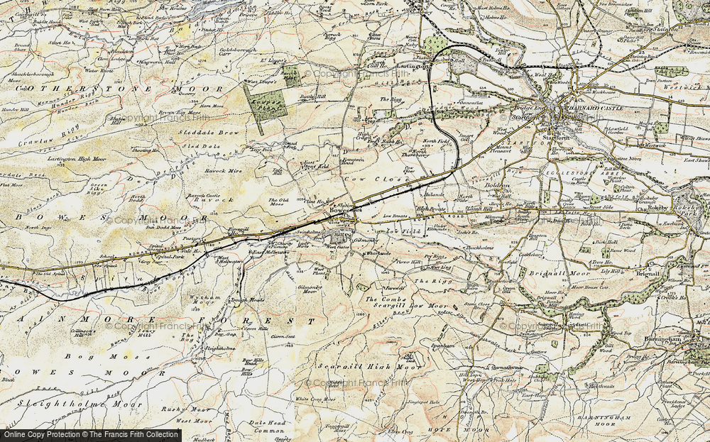 Old Map of Historic Map covering Lavatris (Roman Fort) in 1903-1904