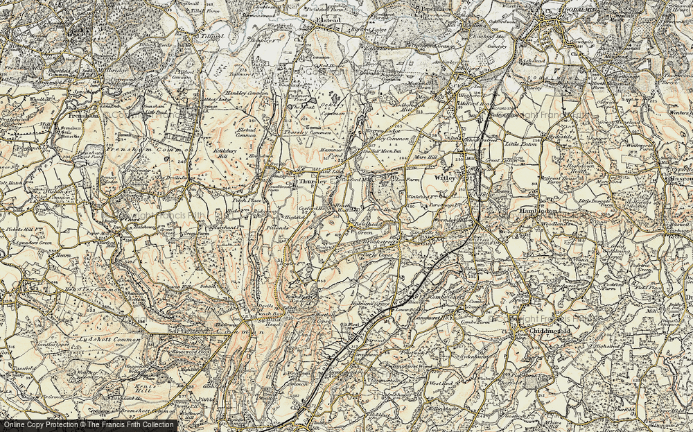 Old Map of Historic Map covering Thursley Lake in 1897-1909