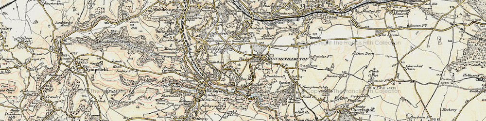 Old map of Box in 1898-1900