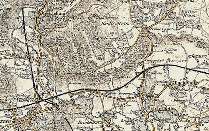 Old map of Box Hill in 1898-1909