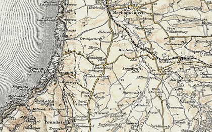Old map of Langford Hele in 1900