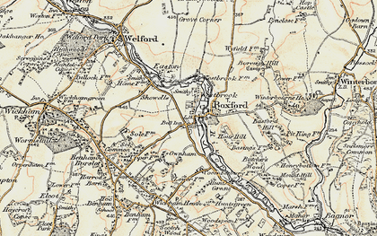 Old map of Boxford in 1897-1900