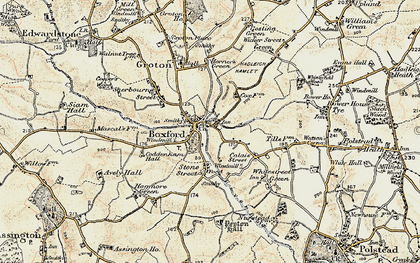Old map of Boxford in 1898-1901