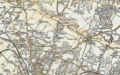 Old map of Boxley in 1897-1898