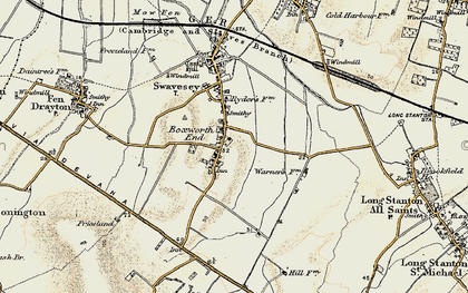 Old map of Boxworth End in 1901