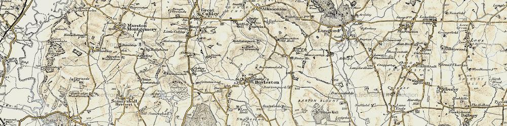 Old map of Alkmonton Village in 1902